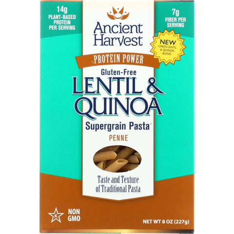 Ancient Harvest Pasta - Supergrain - Green Lentil And Quinoa Penne - Gluten Free - 8 Oz - Case Of 6 - exploreLOHAS