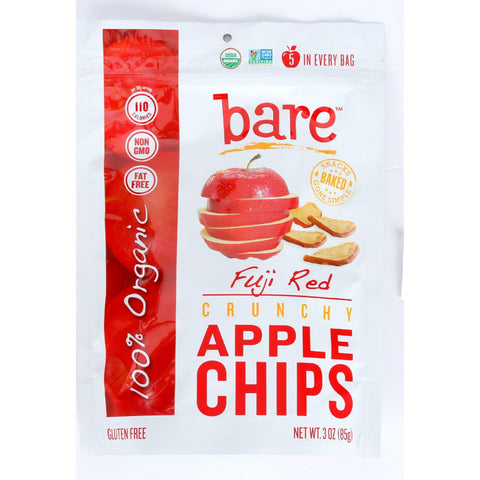 Bare Fruit Apple Chips - Organic - Crunchy - Fuji Red - 3 Oz - Case Of 12 - exploreLOHAS