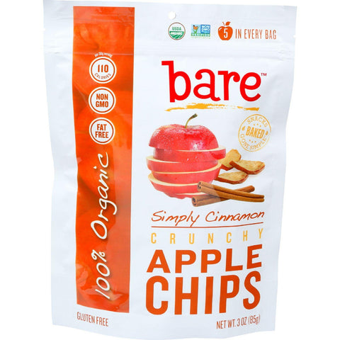 Bare Fruit Apple Chips - Organic - Crunchy - Simply Cinnamon - 3 Oz - Case Of 12 - exploreLOHAS