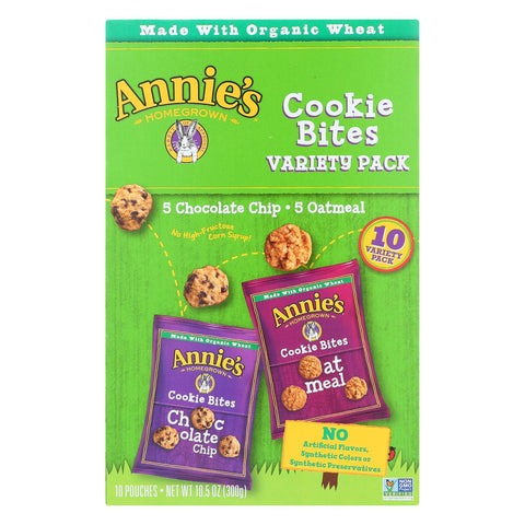 Annie's Homegrown Cookies Bites Variety Snack Pack - Case Of 6 - 40 Bags