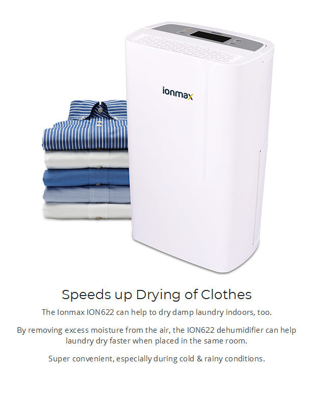 Ionmax ION622 12 Litre Compressor Dehumidifier dry clothes - buy from Air Purifiers Direct