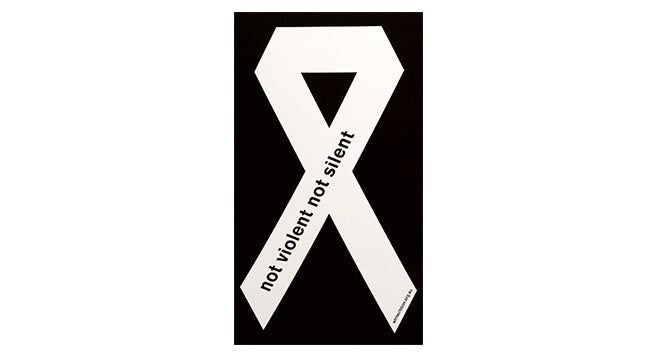 White Ribbon Sticker - A4 (x5)