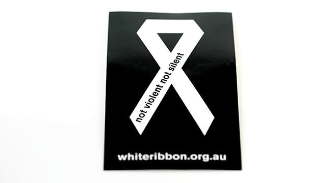 White Ribbon Sticker - Small (x10)
