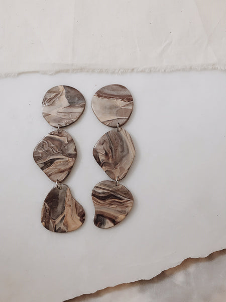 Pebble Earrings in Marble