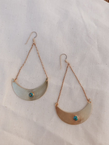 Brass Crescent Moon Earrings in Turquoise