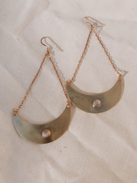 Brass Crescent Moon Earrings with stone