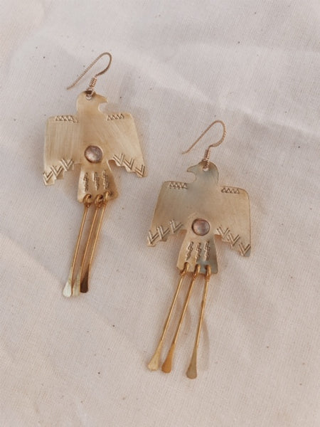 Brass Wa Earrings in Rainbow Moonstone