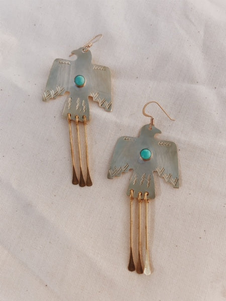 Brass Wa Earrings in Turquoise