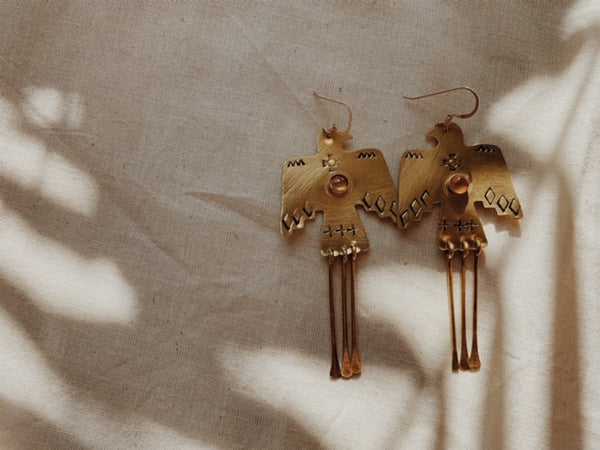 Brass Wa Earrings in Citrine