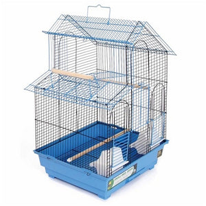 Blue House Style Bird Cage