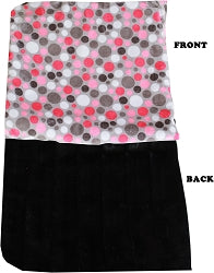 Luxurious Plush Carrier Blanket Pink Party Dots
