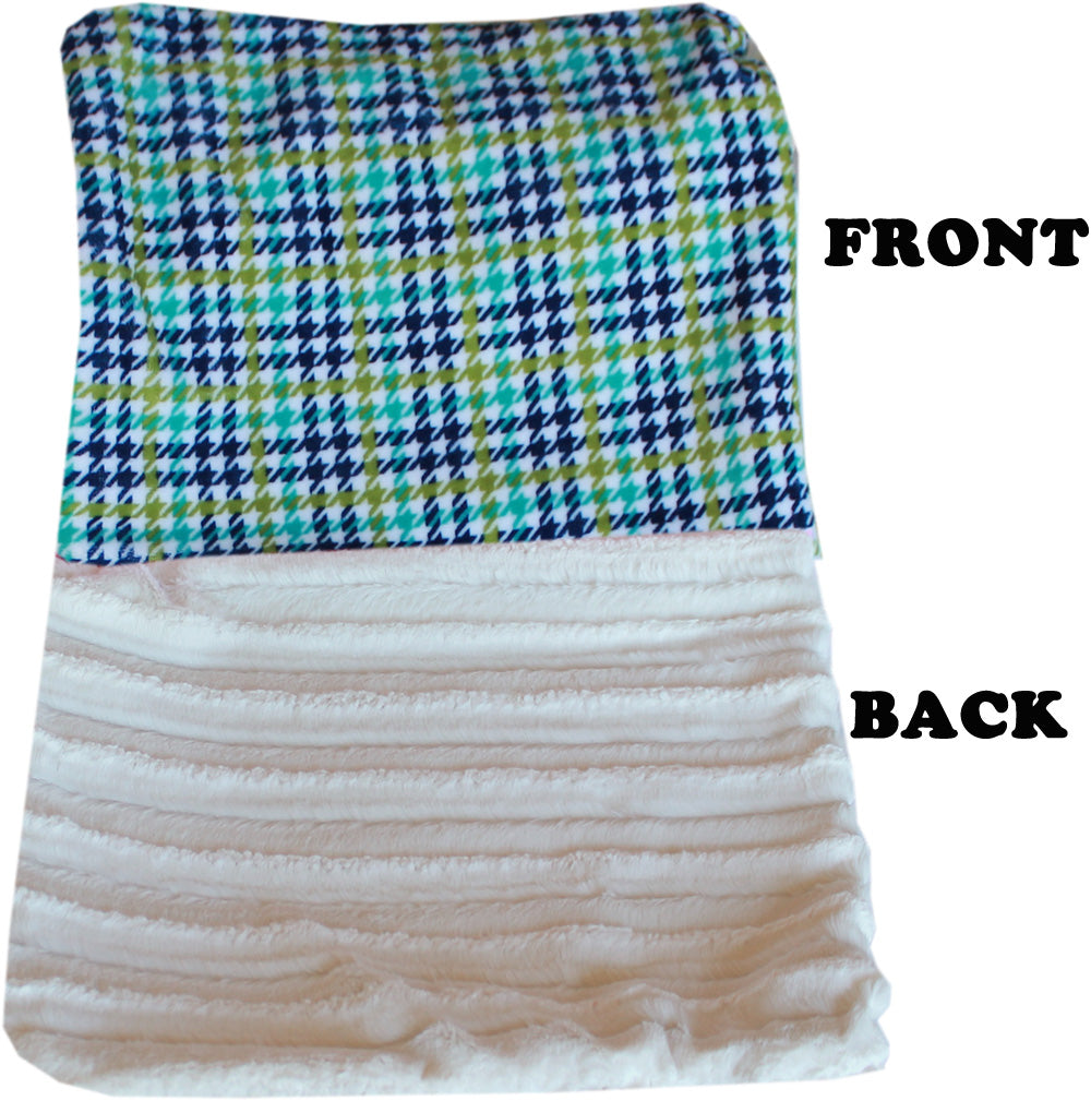 Luxurious Plush Big Baby Blanket Aqua Plaid