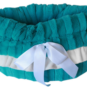 Aqua Reversible Snuggle Bugs Pet Bed, Bag, and Car Seat All-in-One