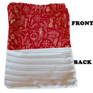 Luxurious Plush Big Baby Blanket Red Holiday Whimsy