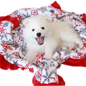Luxurious Plush Pet Blanket Red Snowflake