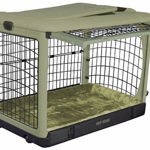 Sage Medium Deluxe Steel Dog Crate with Bolster Pad