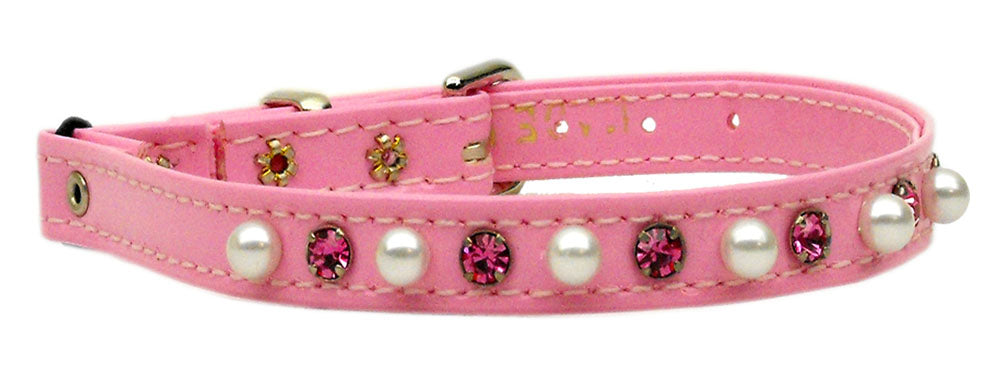 Cat Safety w/ Band Patent Pearl and Crystals