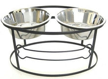 Black Small Bone Raised Double Dog Bowl