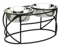 Black  Small Oval Cross Double Raised Feeder