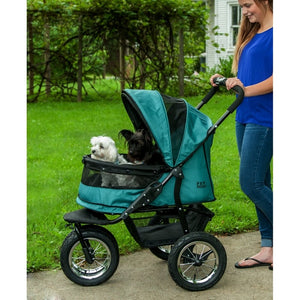 Pine Green No-Zip Double Pet Stroller