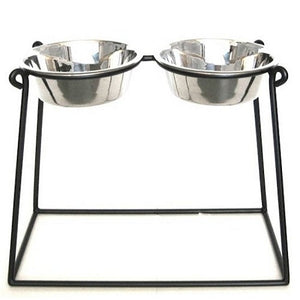 Black   XX Large Pyramid Elevated Double Dog Feeder