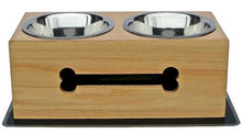 Small Wooden Bone Elevated Dog Bowls