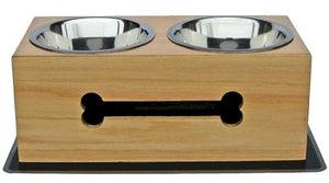 Medium Wooden Bone Elevated Dog Bowls