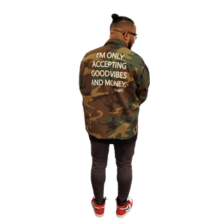 GOOD VIBES AND MONEY ARMY JACKET - YESIAMINC