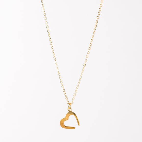 Open Heart- Necklace Vintage Gold
