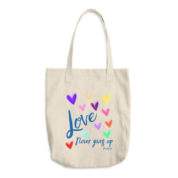 Love Never Gives Up- Denim Tote Bag