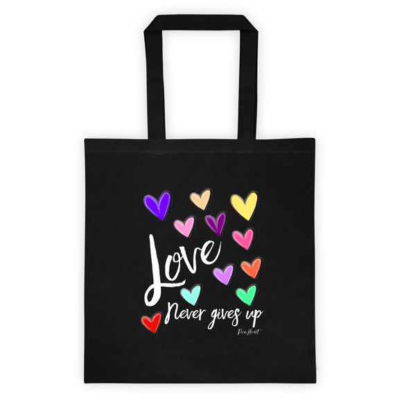 Love Never Gives Up- Black Tote bag