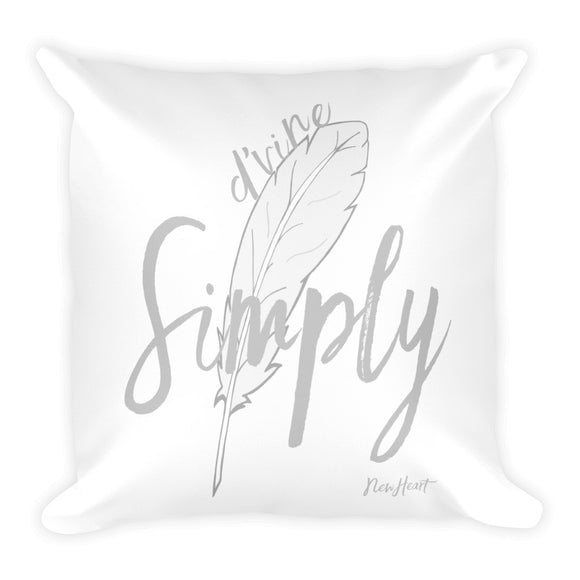 Simply D'vine- Silver Square Pillow