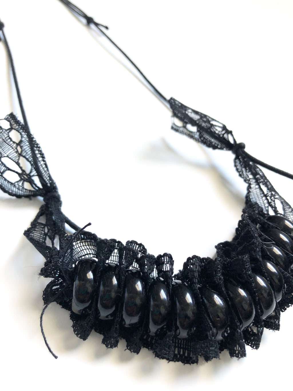 Zero Waste Necklace - Black Bead Lace