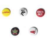 HIGH TIMES CLOTHING CANNABIS LIFE STYLE, REEFER MADNESS INSPIRED MERCHANDISE, ADULTS ONLY LIGHTER or PINS / BUTTONS
