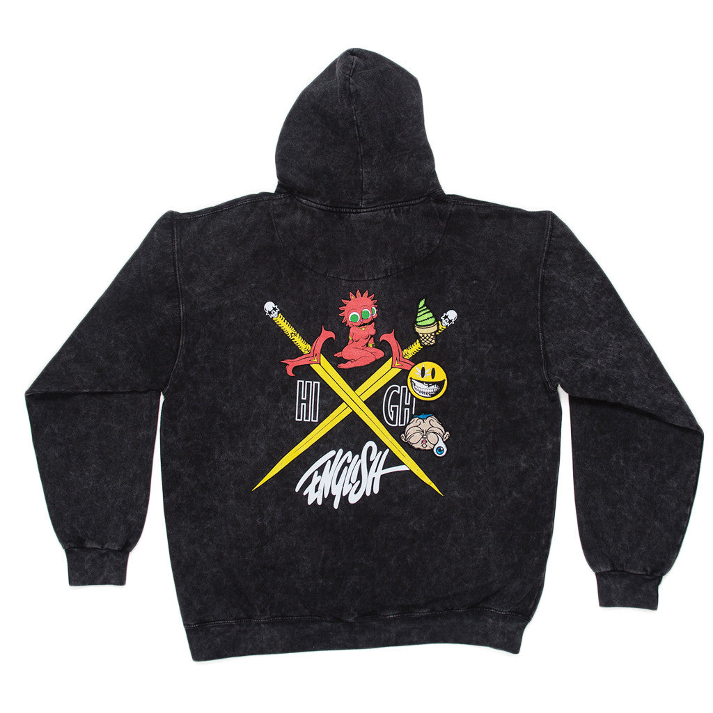 RON ENGLISH STRAWBERRY KUSH BLACK MINERAL HOODIE