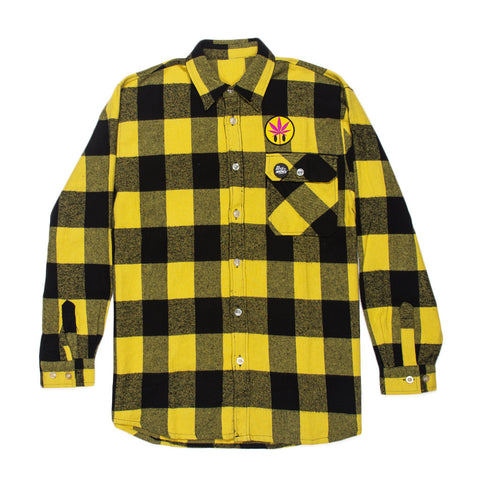 RON ENGLISH YELLOW WEED LEAF FLANNEL SHIRT
