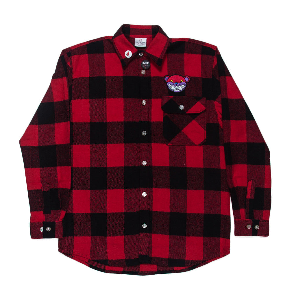 RON ENGLISH RED SMILEY BEAR FLANNEL SHIRT