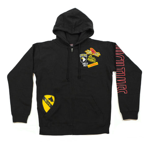 REEFER MADNESS PATCHWORK ZIP UP HOODIE