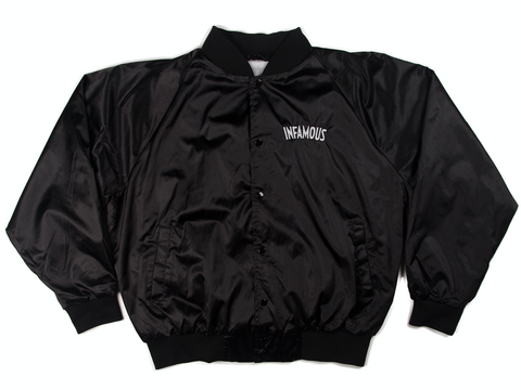 INFAMOUS LOGO SATIN JACKET - BLACK