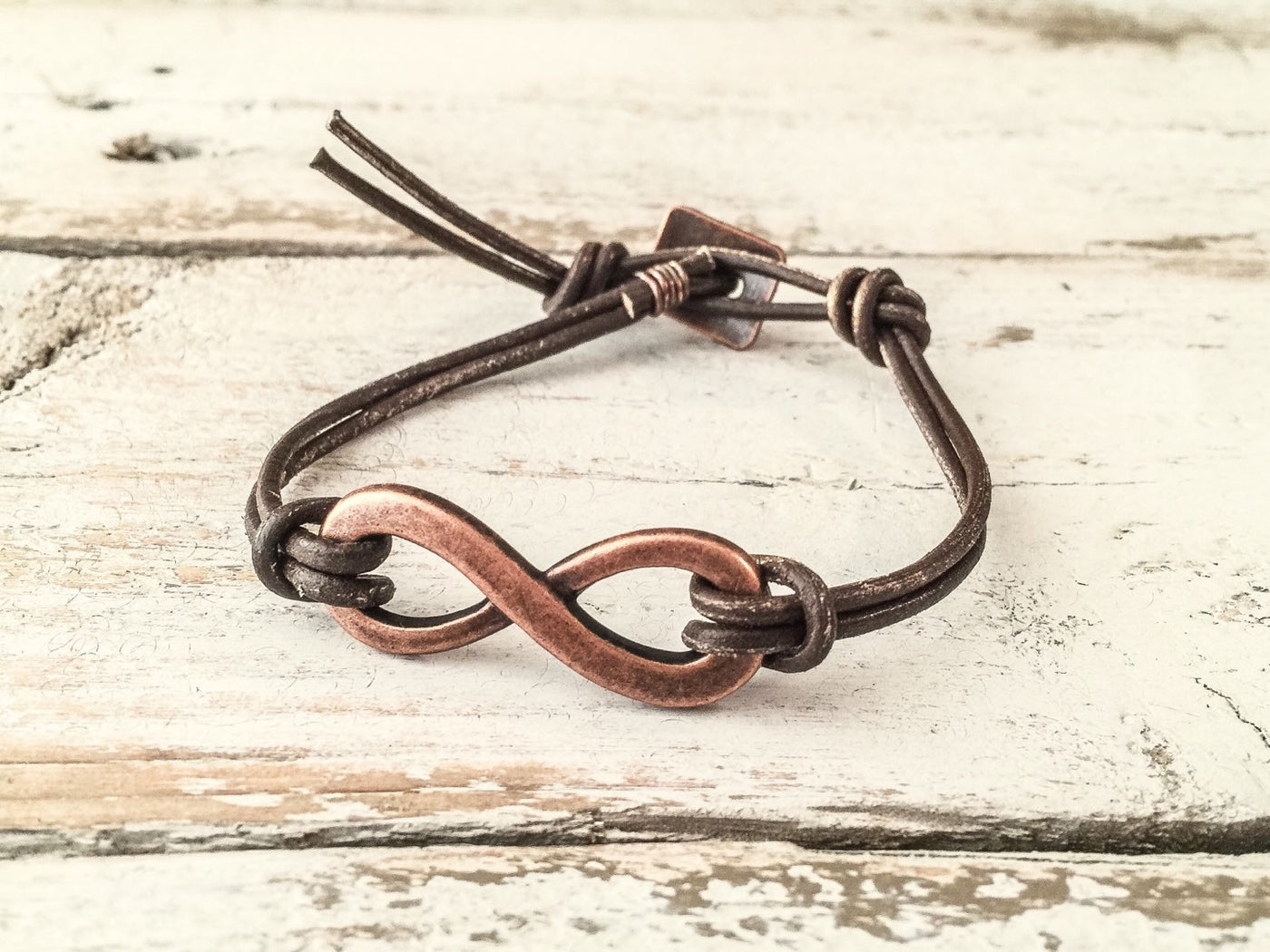 Boho Infinity Friendship Leather Simple Friends Forever Unisex Couple Gift Bracelet, Rustic Distressed Earthy Man Woman Guy Girl Bracelet