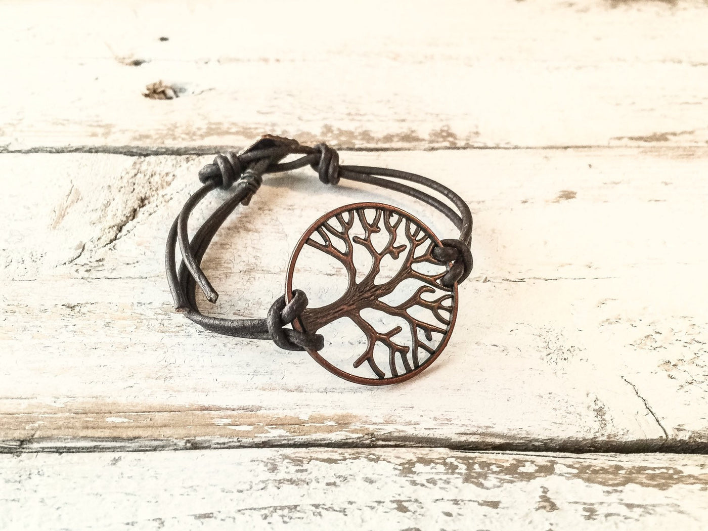 Tree of Life Leather Boho Spiritual Symbol Meaning Simple Distressed Bracelet