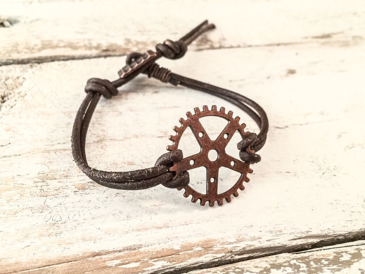 Gear Bracelet, Steampunk Bracelet, Leather Boho Bracelet B055