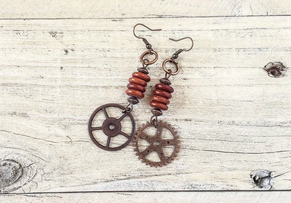 Gear Earrings, Steampunk Gear Earrings, Cog Earrings, Metal Earrings, Steampunk Jewelry, Steampunk Earrings, Hippie Earrings, E 099
