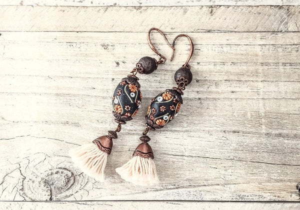 Tassel Earrings, Flower Clay Earrings, Flower Earrings, Bohemian Earrings, Tassel Clay Earrings, Boho Earrings, Bohemian Earrings, E 108