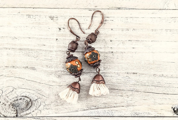Gypsy Orange Tassel Gypsy Bohemian Earrings, Brick Clay Boho Ethnic Cute Unique Earrings