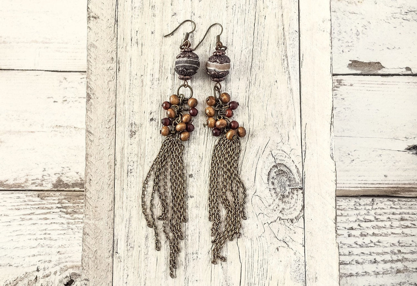 Agate Chain Tassel Earrings, Gypsy Long Earrings, Gypsy Tassel Earrings, Bohemian Agate Earrings, Hippie Earrings, Boho Earrings, E043