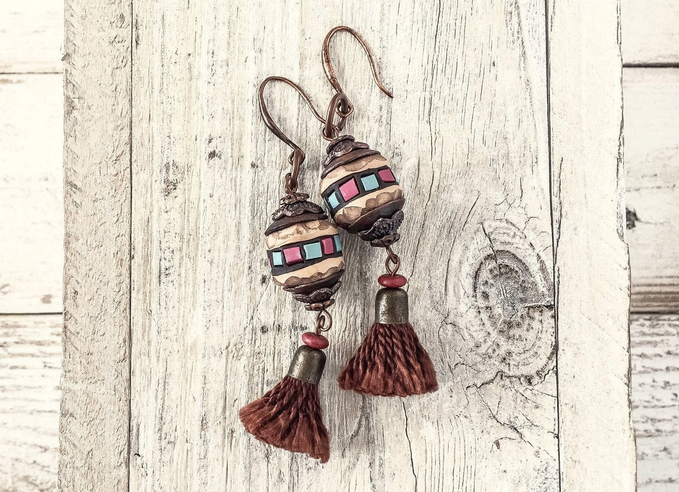Rustic Tassel Earrings, Gypsy Clay Earrings, Bohemian Earthy Earrings, Tassel Clay Earrings, Boho Earrings, Gypsy Earrings, E109