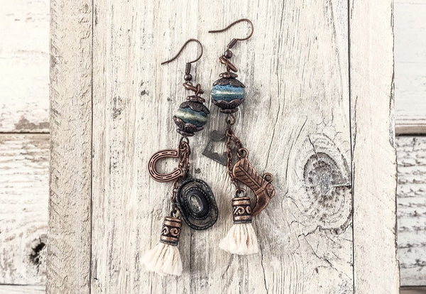 Western Cowboy Earrings, Texas Earrings, Cowgirl Earrings, Texan Earrings, Western Jewelry, Boho Earrings, Hippie Earrings, E115