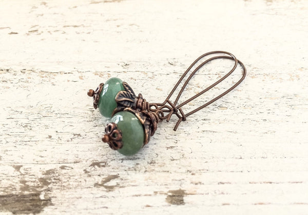 Green Stone Earrings, Cute Gemstone Earrings, Dangle Earrings, Boho Simple Earrings, Simple Green Earrings, Aventurine Earrings, E125.4