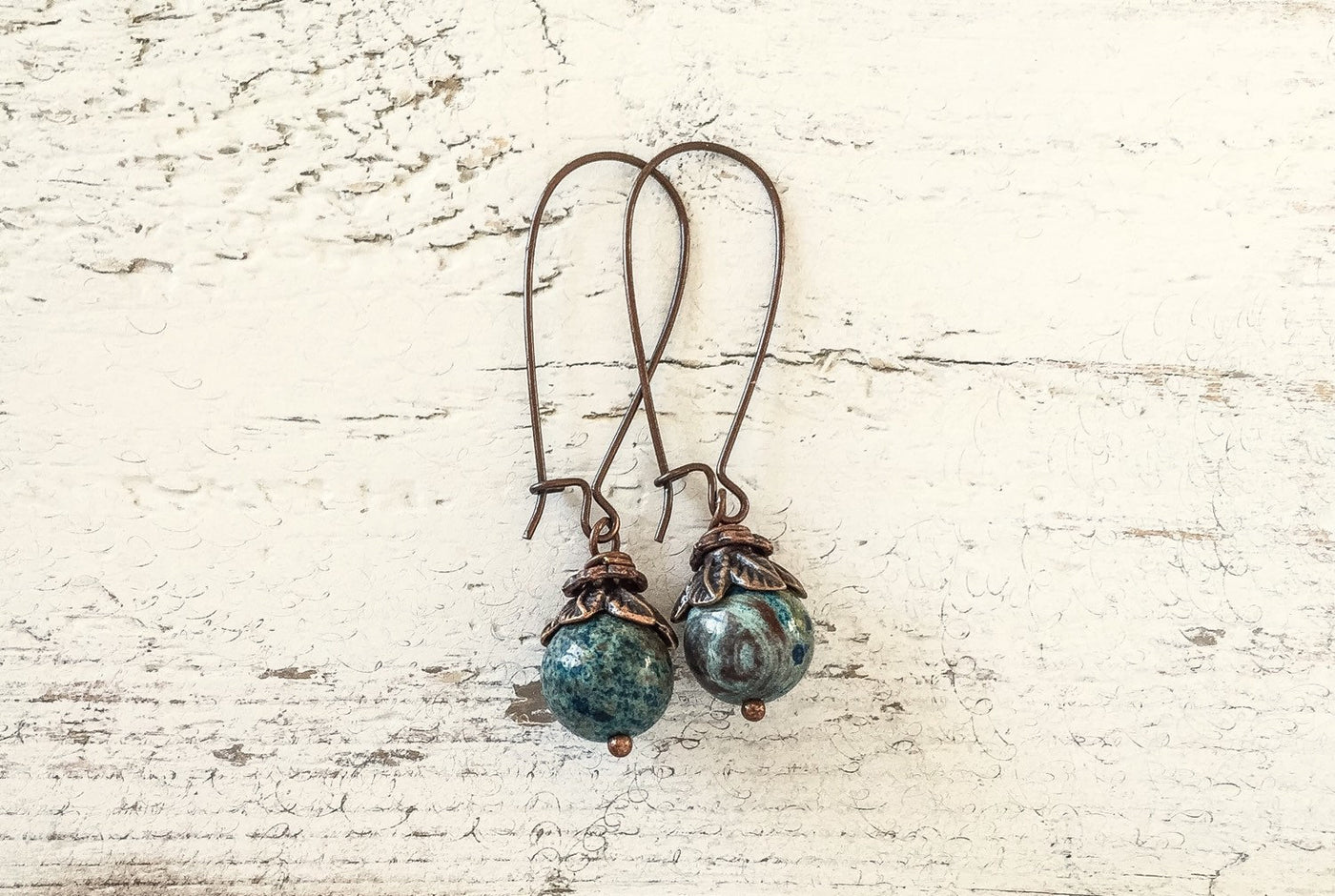 Blue Jasper Earrings, Cute Gemstone Earrings, Dangle Earrings, Boho Simple Earrings, Blue Stone Earrings, Jasper Earrings, E125.6
